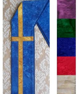 Just the Cross: Cotton Batik Print Deacon Stole with Long Cross Available in all Colors