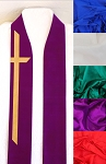 God Demonstrates His Own Love for Us! -- Silk Clergy Stole with Long Cross in All Colors