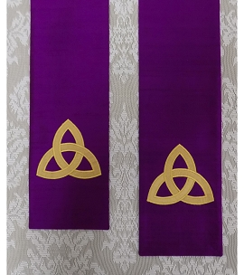 The Mystery of the Trinity: Purple Silk Clergy Stole with Gold Celtic Trinity Knot Design