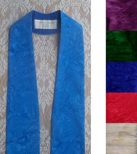 Iris Blue tapered style clergy stole with no design