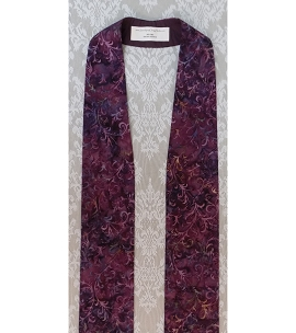 READY TO SHIP! Simple Purple Batik Print Clergy Stole for Lent