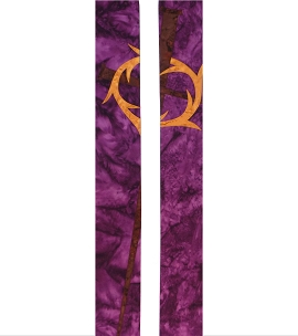 Purple cotton batik clergy stole for Lent with crown of thorns and nail cross