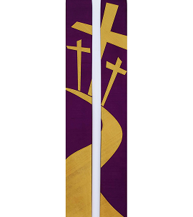 Were You There When They Crucified My Lord? -- Clergy Stole for Lent with Road to the Cross Design -- NOW IN SILK!
