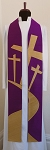 READY TO SHIP-- Purple Silk Clergy Stole for Lent with Road to the Cross Design