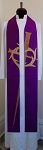 IT IS FINISHED! Purple Silk Stole for Lent with Nail Cross and Crown of Thorns