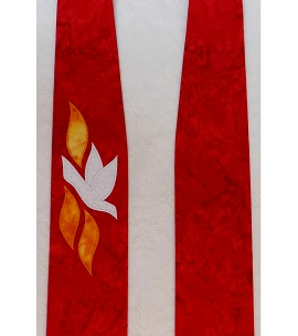 The Gift of the Holy Spirit: Red Clergy Stole for Pentecost and Ordination