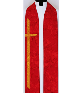 At the Cross: Red Cotton Batik Print Clergy Stole with Long Cross for Pentecost and Ordinations