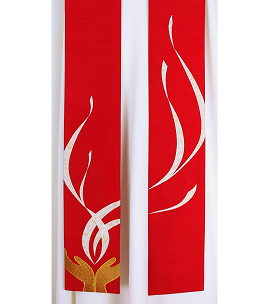 May my Prayer be Counted as Incense Before You: Red Silk Clergy Stole with Praying Hands