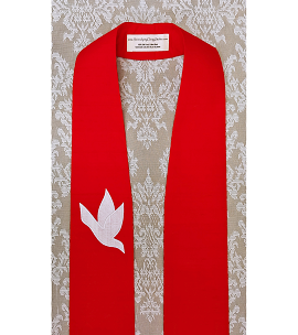A Lasting Peace: Red Silk Clergy Stole with White Dove