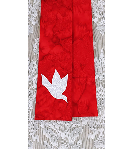 And on Earth, Peace: NARROW Red Stole with White Dove