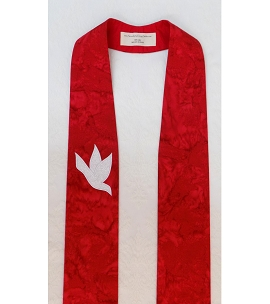 And on Earth, Peace: Red Clergy Stole with White Dove