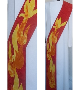 Dancing Flames: Red Deacon Stole for Pentecost and Ordinations
