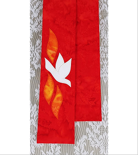 Red clergy stole with light cream dove and 3 orange  flames