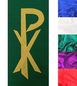 In Christ Alone: Silk Clergy Stole with Gold Chi Rho in all Liturgical Colors