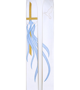 White clergy stole for Baptism with gold cross, dove, water flowing from hands