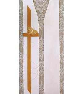 White clergy stole with butterfly cross