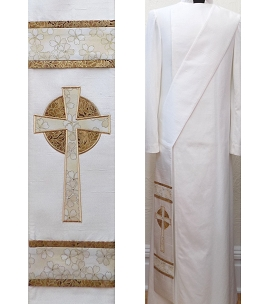 Love Eternal: White Deacon Stole with Celtic Cross Design
