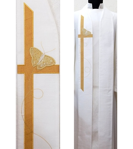 White clergy stole for Easter with butterfly cross, full length view