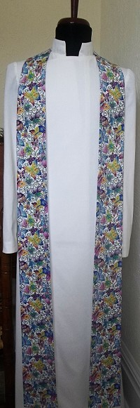 Resurrection of the Saints: Clergy Stole for Easter and All Saints Day in Mult-Colored Butterfly Print