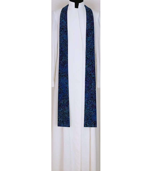READY TO SHIP Lo How a Rose er Blooming: NARROW Advent Clergy Stole in Blue Roses Print