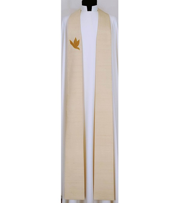 A Lasting Peace: Cream Silk Clergy Stole with Gold Dove