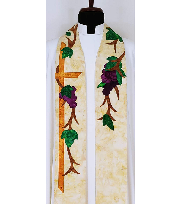I Am the Vine: Clergy Stole with Grapevine Design