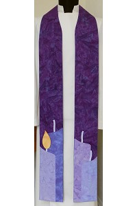 Light Their Way: Blue or Purple Teaching Clergy Stole for Advent,  Candles with Detachable Flames