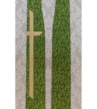 READY TO SHIP! Just the cross: Green Clergy Stole with Long Cross in Metallic Cotton Prints