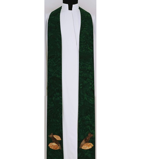 The Feast of Pastoral Ministry: Green Clergy Stole with Five Loaves and Two Fish