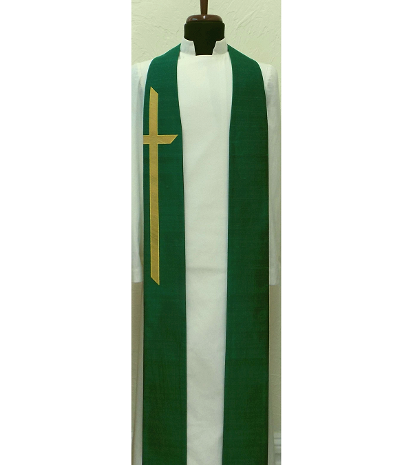 READY TO SHIP! God Demonstrates His Own Love for Us! -- Green Silk Clergy Stole with Long Cross
