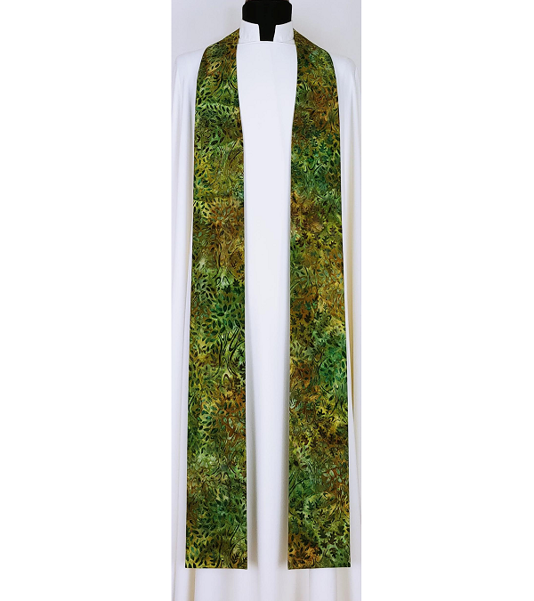 READY TO SHIP! Forest Trees Print Clergy Stole for Ordinary Time