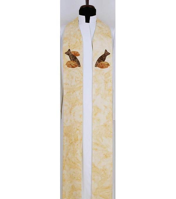 READY TO SHIP! The Feast of Pastoral Ministry: Cream Clergy Stole with Five Loaves and Two Fish