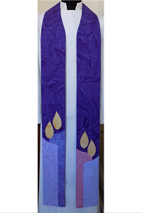 Hope, Love, Joy, Peace: Purple Advent Candles Clergy Stole