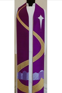 Come to Bethlehem and See! Purple Advent  stole with Bethlehem Road Design