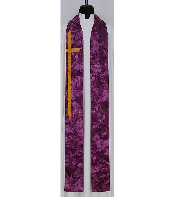 At the Cross: Purple Cotton Batik Print Clergy Stole with Long Cross for Lent or Advent