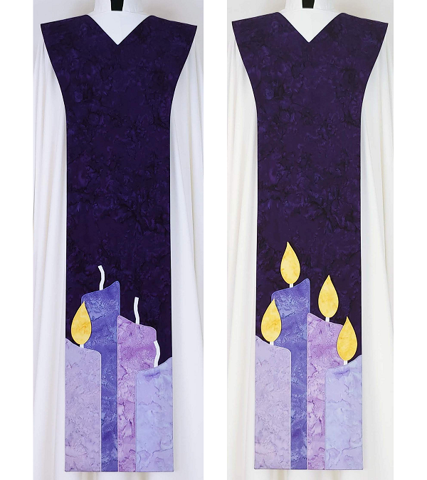 Light Their Way: Purple Teaching Scapular for Advent,  Candles with Detachable Flames