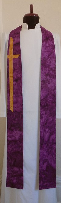 At the Cross: Cotton Batik Print Clergy Stole in Every Color with Long Cross
