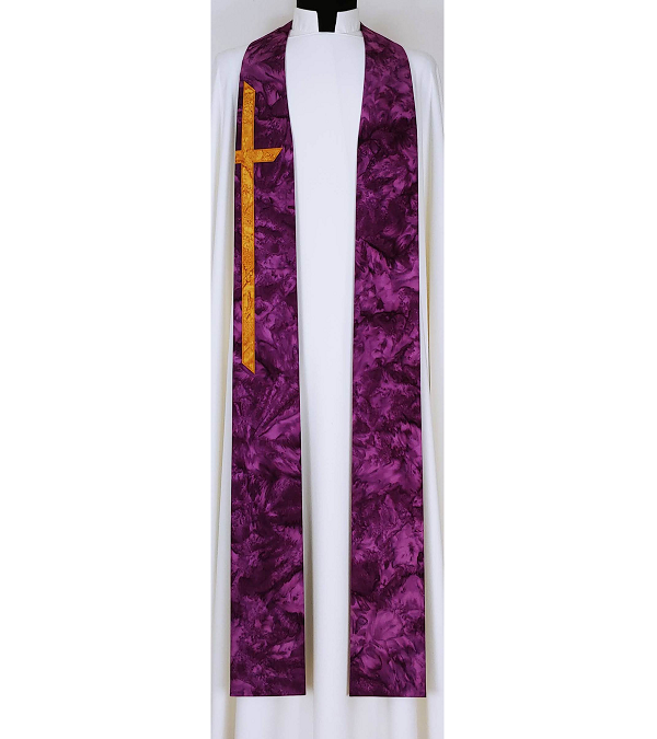READY TO SHIP! At the Cross: Purple Cotton Batik Print Clergy Stole with Long Cross for Lent or Advent