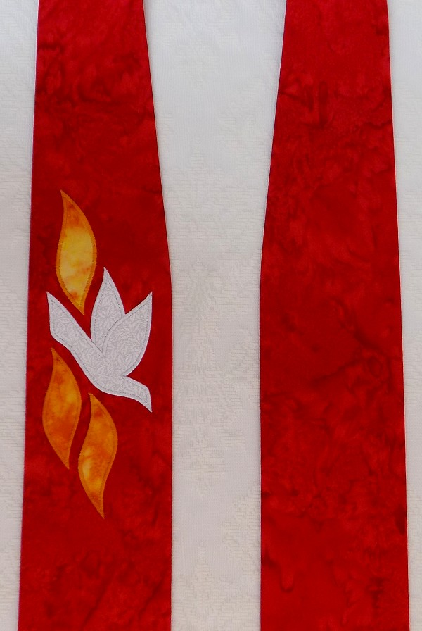 READY TO SHIP! The Gift of the Holy Spirit: Red Clergy Stole for Pentecost and Ordination