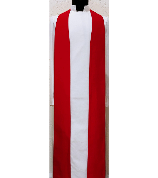 READY TO SHIP Simply Silk: Plain Red Clergy Stole -- Keep it Simple, or Add Your Own Design!