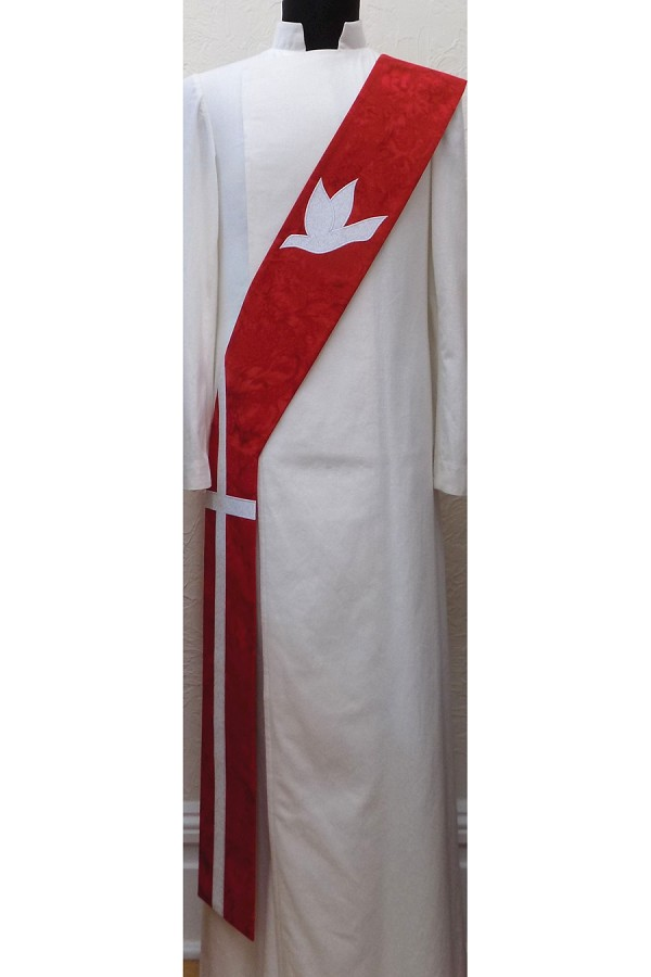 Descend on Us: Cotton Batik Print Deacon Stole with Dove and Long Cross -- Available in all Colors