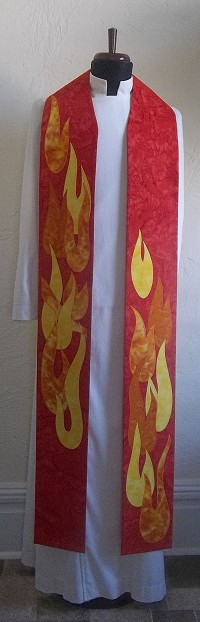 The Dance of the Holy Spirit: Red Clergy Stole for Pentecost and Ordinations