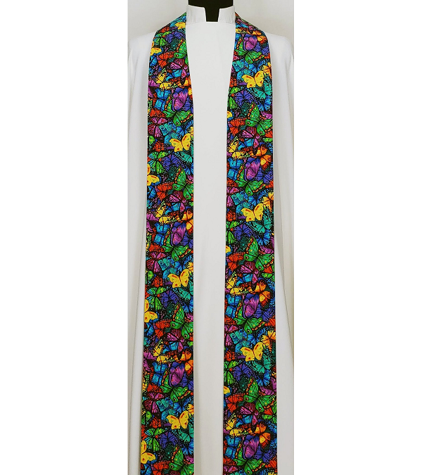 Resurrection of the Saints: Clergy Stole for Easter and All Saints Day in MultI-Colored Butterfly Print