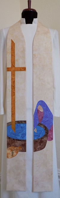 Jesus Met the Woman at the Well: Versatile Cream Clergy Stole for Ordinary Time, Baptism, Other Occaisions