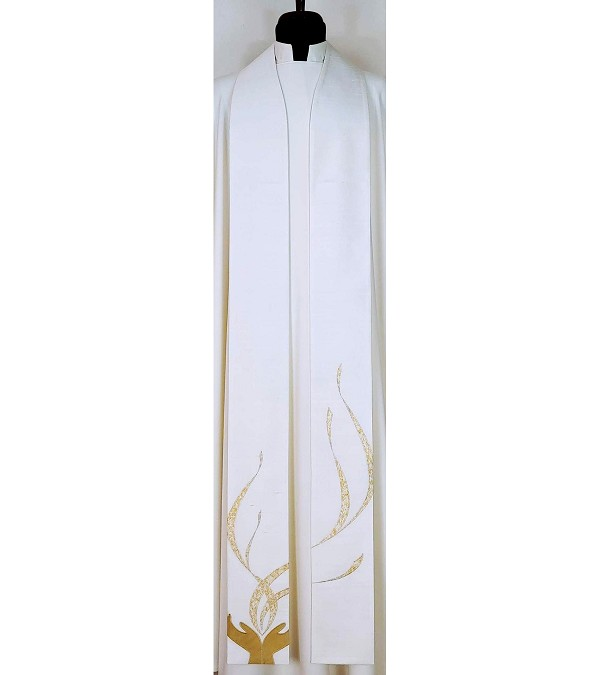 May my Prayer be Counted as Incense Before You: White Silk Clergy Stole with Praying Hands