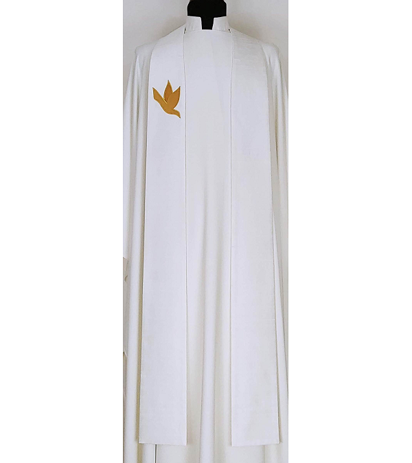 READY TO SHIP A Lasting Peace: Ivory Silk Clergy Stole with Gold Dove